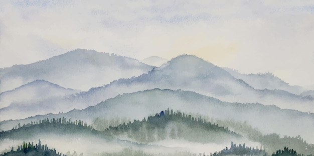 소나무 숲의 수채화 풍경 파노라마, 회색, 겨울 또는 봄 숲이 있는 파란색 배경, 침엽수가 있는 자연, 여행 삼림 및 자연 야외 장면 그림.