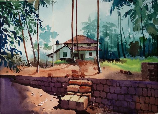 村の風景イラストの水彩画の自然と手描きの家