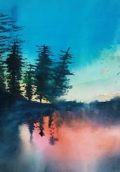 수채화 그림 자연과 호수 반사 풍경