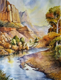 Watercolor painting nature landscape illustration