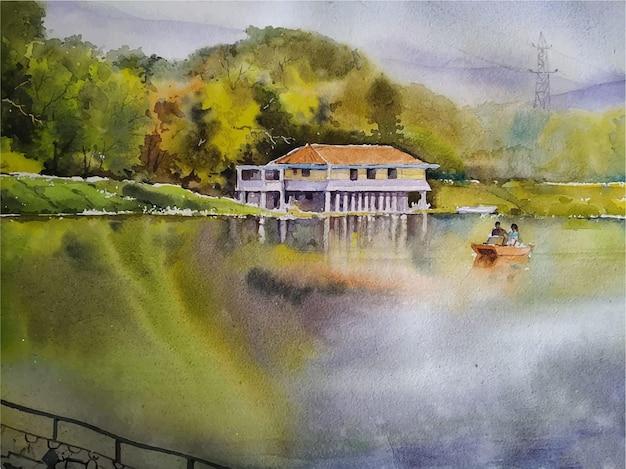 Watercolor painting nature landscape
