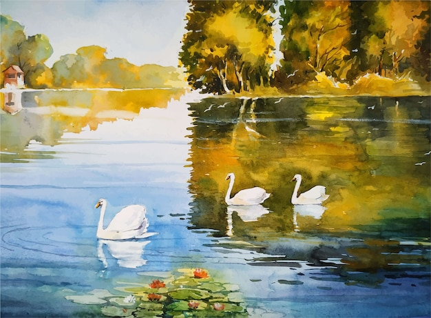 Watercolor painting nature pond and duck landscape illustration