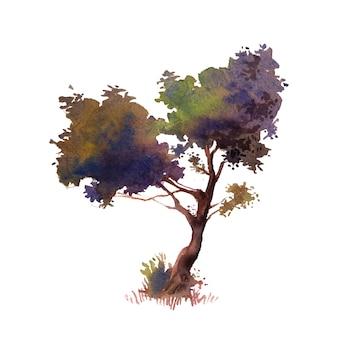 예술적 나무의 수채화