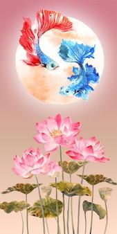 연꽃과 달 배경을 가진 중국 스타일의 베타 물고기 커플의 수채화.