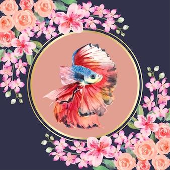ピンクと赤の花が角にある円の周りのベタの魚の水彩画。