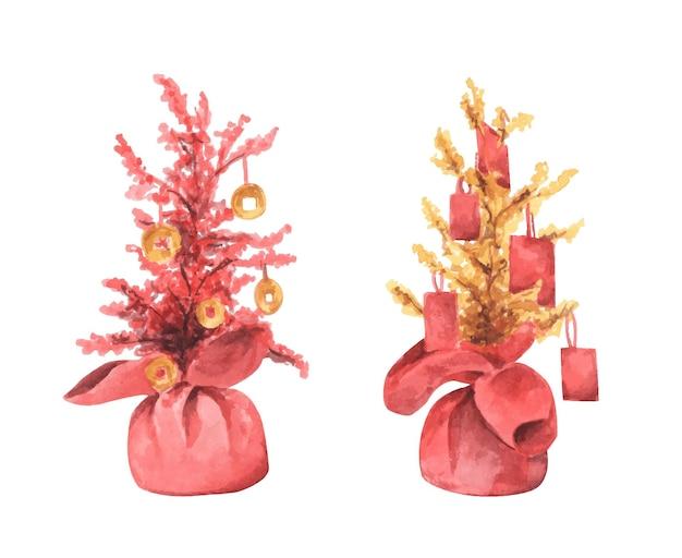 중국 새 해 나무의 수채화 그림.