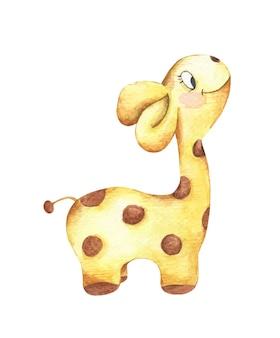 귀여운 아기 기린의 수채화 그림