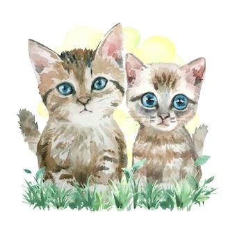 草の上の2匹の猫の水彩画。