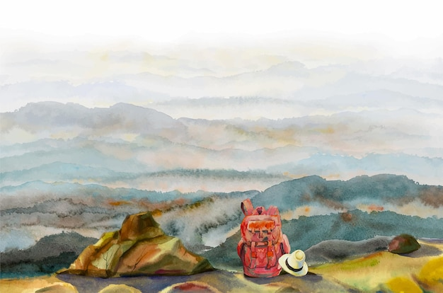 Акварельная живопись, панорамный вид, приключения и путешествия, вид сверху на горы