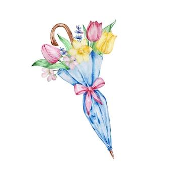 수채화 그림 봄 꽃, 튤립, 수선화와 파란색 닫힌 우산. 인사말 카드, 초대장, 포스터, 결혼식 장식 및 기타 이미지를 위한 꽃꽂이.