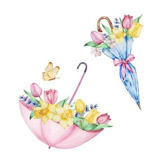 수채화 그림 봄 꽃, 튤립, 수선화와 스노 드롭이 있는 두 개의 우산. 인사말 카드, 초대장, 포스터, 결혼식 장식 및 기타 이미지를 위한 꽃꽂이.