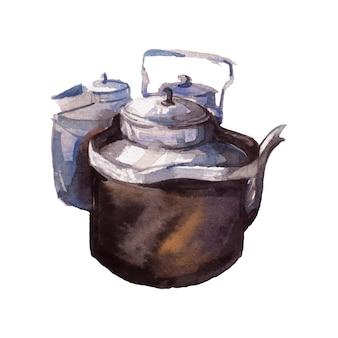 Watercolor painting of tea kettle
