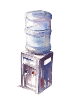 Watercolor painting of water filter machine with gallon bottle