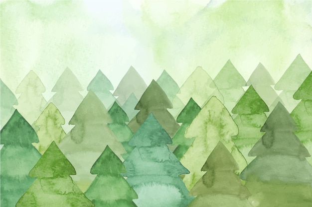 Watercolor painting with fir trees