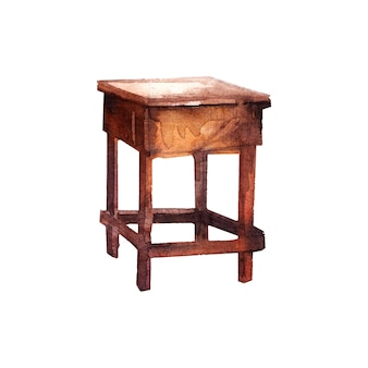 Watercolor painting of wood table