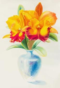 青い花瓶のベクトル図で蘭の花の水彩画黄赤色