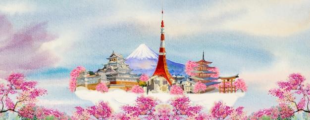 Watercolor paintings popular travel landmark