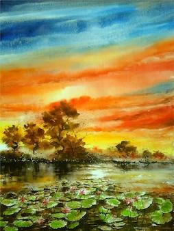 Акварельные картины река и красочный цветок лотоса с видом на небо