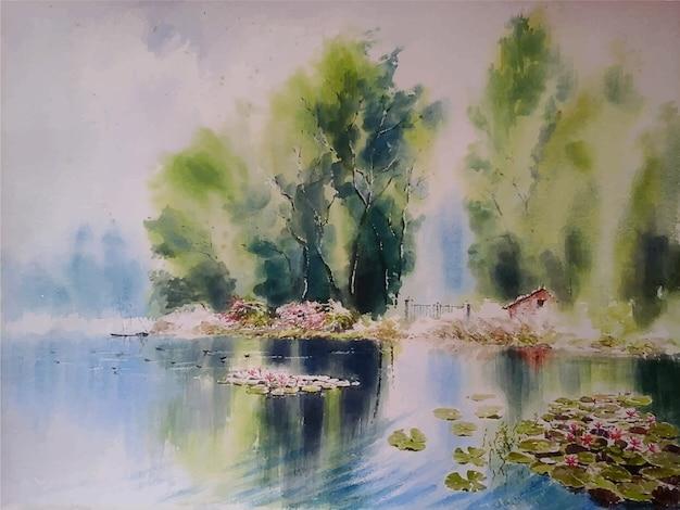 Акварельные картины река и красочный цветок лотоса