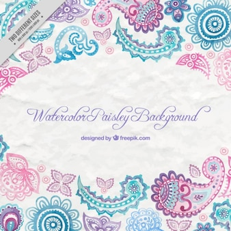 Watercolor paisley decoration background