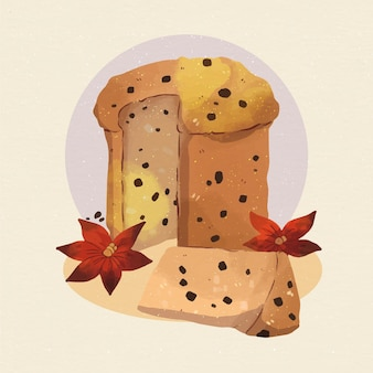 Watercolor panettone illustration with chocolate chips and flowers