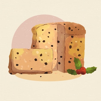Watercolor panettone illustration with chocolate chips