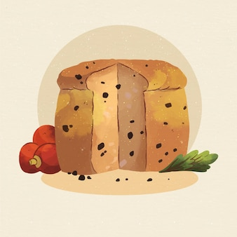 Watercolor panettone illustration with decoration