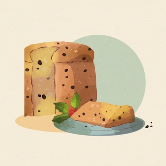 Watercolor panettone with chocolate chips