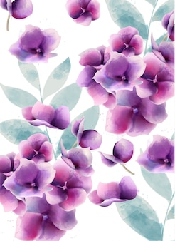 Watercolor pansy summer flowers and leaves pattern