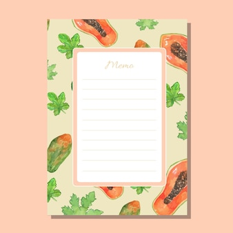 Watercolor papaya lined memo printable template