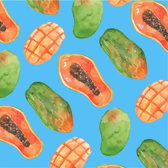 Watercolor papaya and mango seamless pattern