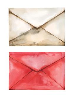 バレンタインデーのために設定された赤い色のベージュの水彩紙ラブレター