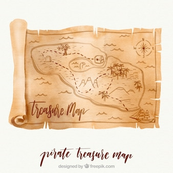 Watercolor parchment with treasure map