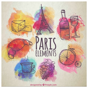 Watercolor paris elements in colorful style