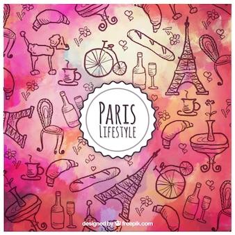水彩パリのライフスタイルの背景