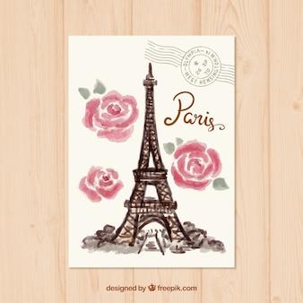 Watercolor paris postcard