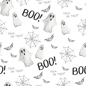 Watercolor parrern with ghost for halloween happy halloween pattern