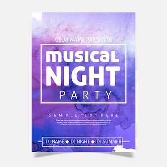 Watercolor Party Poster Template Design