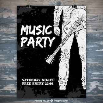 Watercolor party poster with hand drawn guitarist