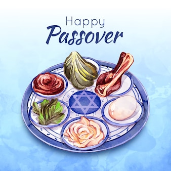 Watercolor passover celebration