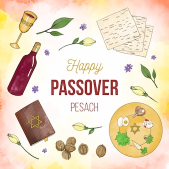 Watercolor passover event illustrated