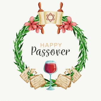 Watercolor passover (pesach) concept
