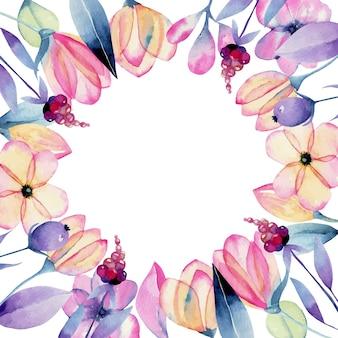 수채화 파스텔 사과 꽃 꽃과 부드러운 식물 프레임