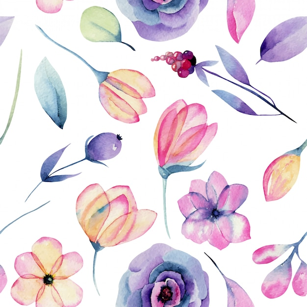 Watercolor pastel apple blossom flowers and plants seamless pattern, hand painted