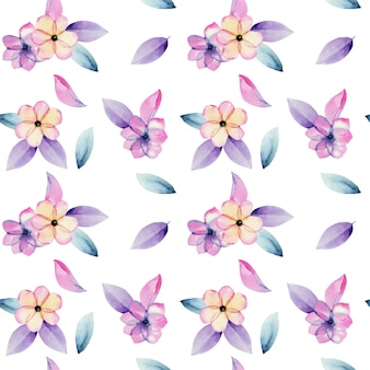 Watercolor pastel apple blossom flowers and tender purple leaves seamless pattern, hand painted