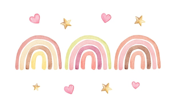 Watercolor pastel color rainbows set with hearts and stars isolated