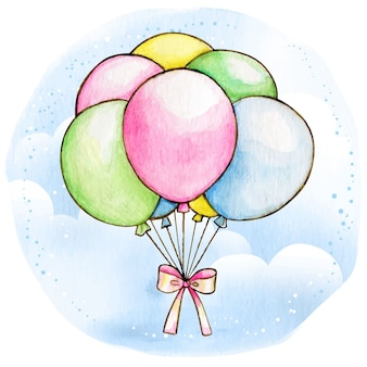 Watercolor pastel colorful balloons with bow