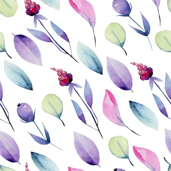 수채화 파스텔 나뭇잎과 열매 원활한 패턴, 손으로 그린
