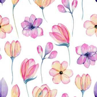 Watercolor pastel pink apple blossom flowers seamless pattern, hand painted