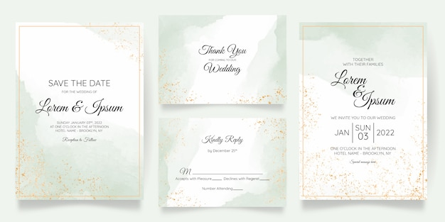 Watercolor pastel wedding invitation card template set with golden floral decoration